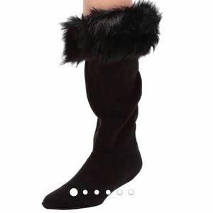 Hunter Faux Fur Cuff Boot Socks L Black•NWT in Box